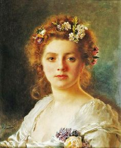 Gustave Jean Jacquet (French artist, 1846-1909) Flora. A goddess of flowers and the season of spring. While she was otherwise a relatively minor figure in Roman mythology, being one among several fertility goddesses, her association with the spring gave her particular importance at the coming of springtime.