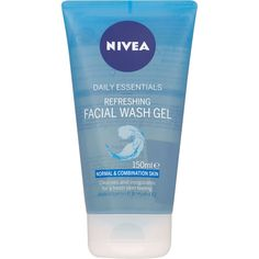Nivea Daily Essentials Refreshing Facial Wash Gel 150ml ($3.79) ❤ liked on Polyvore featuring beauty products, skincare, face care, face cleansers, nivea face cleanser, nivea and nivea face wash