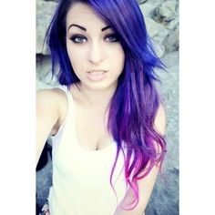 Blue, purple, pink ombre hair! Dyed Hair ❤ liked on Polyvore featuring hair, girls, people, hairstyles and makeup