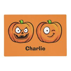 Halloween Pumpkins custom name reversible placemat - halloween decor diy cyo personalize unique party