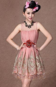Pink Sleeveless Sheer Top Gold Silk Embroidered Dress