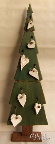 Wood Christmas Tree with Ornaments