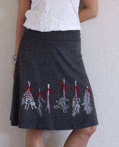 Handmade appliqué skirt . Grey skirt . Knee length skirt . A-line skirt - Preserve some herbs - size Extra Large. $54,00, via Etsy.