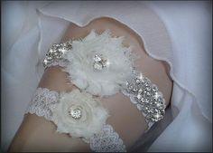 Luxury Garter Set/Wedding Garter Set, Ivory Stretch Lace Garter, Rhinestone garter, Flower Garter Set on Etsy, $38.75