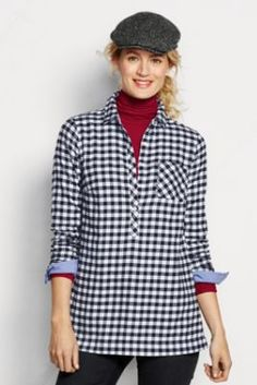 Women's Long Sleeve Chambray Trim Flannel Tunic from Lands' End Irish Rose Plaid instead of this Flannel Tunic, Fall Outfits, Fashion Outfits, Shirt Blouses, Shirts, Cable Knit Sweaters, Chambray, Tunic Tops, My Style