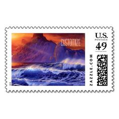 Personalized Ocean Waves Sunset 2 Postage Stamp