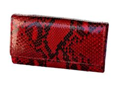 Shiny python woman's wallet color red