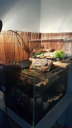 ♥ Pet Turtle ♥ Here's a DIY turtle topper above tank basking platform. It lacks a way to prevent your turtle scooting over the side.: