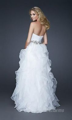 A-Line Organza Strapless Long Dress Charm89282