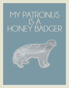 My Patronus is a honey badger!!    Harry Potter Inspired Minimalist Poster / My by EntropyTradingCo, $15.00