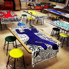 Love this idea! Keith Haring was involved in many youth art projects. This would be a great way to introduce students to his style. Group Art Projects, School Art Projects, Art Education Projects, Collaborative Art Projects For Kids, Art Education Lessons, Art Lessons For Kids, Art Lessons Elementary, Elementary Art Rooms, Elementary Art Education