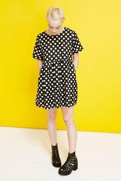 T-Shirt Smock Dress Black Polka - THE WHITEPEPPER