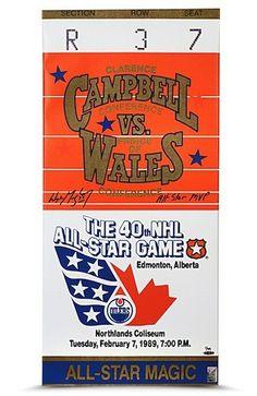 """WAYNE GRETZKY Signed 15"""" x 32"""" 1989 All Star Game Mega Ticket UDA LE 99 - Game Day Legends"""