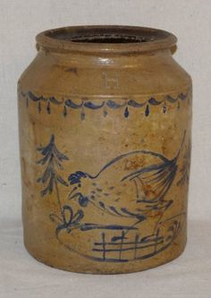 Blue Painted Stoneware Jar with a Chicken