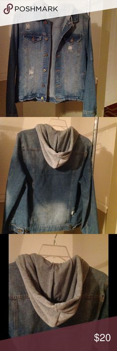 Denim jacket with attached hood Slightly distressed, oversized fit, men's jacket but I like it for women.  The hood does not detach from the jacket.  No trades. Please see my FAQ's for questions about shopping in my store. Jackets & Coats Jean Jackets