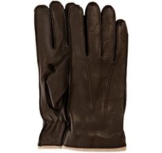 All Gloves     brown deerskin leather lambswool lined gloves