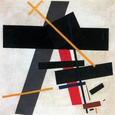 """Kazimir Malevich, Suprematism, 1915-16 // """"In malevich's pictures the coloured geometric figures, completely reduced to the essentials, driven by some internal stregth and impetus, detach themselves from the horizontal picture plane to cut freely across the bright space at their disposal. Their soaring liberation from the constraint of matter proclaims the freedom, creative strenth and sovereignty o f the mind..."""" (passuth on Malevich: 24)"""