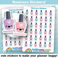 One sheet of cute 36 little manicure stickers, perfect for your planner! • Stickers measure approx. 0.45 x 0.75 inches • Sticker sheet measures 4 x 5.5 inches  Printed onto matte paper, each sticker is kiss-cut and ready to peel and stick straight into your planner!  You will receive your order in a board-backed envelope, and the stickers will be inside a waterproof sleeve.  Please note: colours may vary slightly upon printing due to different computer screens.  ----  We ❤ stickers…