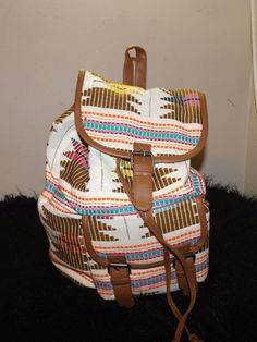 new off white brown Aztec influenced Native drawstring back pack purse roomy  #claires #purse