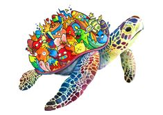 Image of Turtle Doodle (Limited Edition, Signed & Embossed) Copic Marker Drawings, Sharpie Drawings, Doodle Art Designs, Doodle Patterns, Doodle Art Drawing, Art Drawings, Drawing Ideas, Vexx Art, Doddle Art
