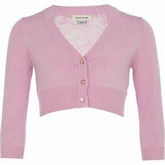 Girls purple cropped lace back cardigan £10.00