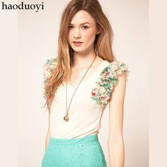 Women's T-Shirts print chiffon ruffle hem sleeveless women's white t-shirt