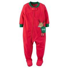 Carter's Baby Boys' 6 Months 1-Piece Fleece Christmas Pajamas, Red Reindeer Sweater