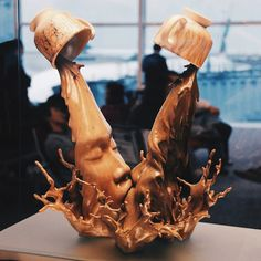 """langste: """" These """"coffee kiss"""" sculptures are part of an ongoing series by Chinese artist Johnson Tsang. Started in the series is named after a local drink called Yuanyang, which is made using a mixture of three parts coffee and seven parts. Johnson Tsang, Advanced Ceramics, Smoking Kills, Zumba Fitness, Tgirls, Black Art, Freckles, Find Image, Fitspo"""