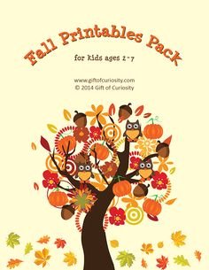 Fall Printables Pack with 71 fall-themed activities and worksheets for kids ages 2-7. Includes work on colors, shapes, puzzles, number identification, letters, and more! This is such an adorable learning resource! || Gift of Curiosity