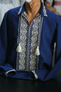Polish Embroidery, Embroidery On Clothes, Folk Embroidery, Shirt Embroidery, Embroidered Clothes, Embroidery Fashion, Diy Fashion, Mens Fashion, Recycled Dress