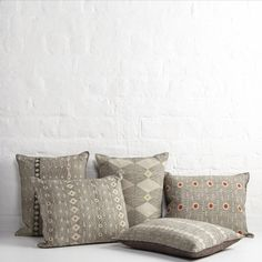 Hand-block printed cushions by Louisa Loakes. The New Craftsmen.