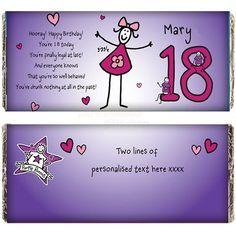 Personalised Purple Ronnie Female 18th Birthday Cholocate Bar