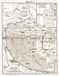 1900's City Lithograph Map of Delhi