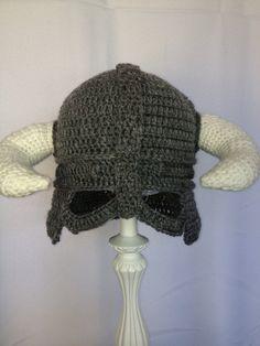 Dovahkiin helmet, skyrim hat, viking hat. grey crochet hat, please include SIZE in order. $30.00, via Etsy.
