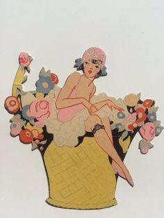Vintage flapper woman in basket of flowers bridge game tally old pape Art Vintage, Vintage Drawing, Vintage Artwork, Vintage Posters, Vintage Paintings, Vintage Hats, Girl Illustration Art, Graphic Design Illustration, Art Nouveau