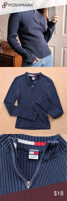 "Tommy Jeans Blue Long Sleeve Zip Sweater 💙 Y2K dark blue long sleeve sweater by Tommy Hilfiger✨Rib knit mock neck quarter zip✨Small hole in right sleeve (when worn)✨Tag size L, modeled on size S, Best fits M💙  Measurements lying flat Armpit to armpit 15"" (30"" around) stretches to about 19"" (38"" around) Length 21.5""  💸 Always open to offers and I discount bundles! 💸 Tommy Hilfiger Sweaters"