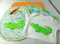 Baby Boy Gift Set  Alligator Bodysuit  Minky by PeaPodLilFrogs, $30.00