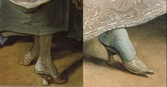"Close up of the Stockings and shoes from the above painting ""La Toilette"" by Francois Boucher"