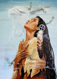 Image detail for - Native-American-Indian-Woman-Eagle-Prayer-art-print-Medicine-Wheel .