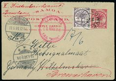 Samoa: Postal Stationery: 1898 (May 18) 1d. lettercard to Germany, additionally franked by 1886-1900 1/2d., tied by Apia c.d.s., with red circular ''N.Z. MARINE P.O./R.M.S. MOANA'' datestamp, with German receiving marks, readdressed upon arrival, scarce.