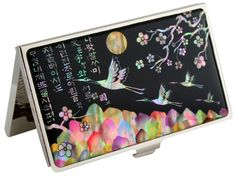 Nacre abalone shell mother of pearl business card holder credit id nacre abalone shell mother of pearl business card holder credit id card case flower crane design colourmoves
