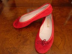 PRETTY-BALLERINAS-Red-Suede-Ballet-Flats-Shoes-Size-38-US-8