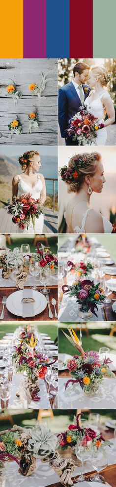 Sunglow, mulberry, dusty navy, magenta, and sage green | Images by Evynn LeValley