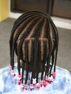 Cornrows and beads (link shows other angles of same style) Toddler Braided Hairstyles, Toddler Braids, Undercut Hairstyles Women, Lil Girl Hairstyles, Cute Hairstyles For Kids, Braids For Kids, Kids Cornrow Hairstyles, Black Hairstyles, Hairstyles Pictures