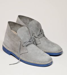 CLARKS ORIGINALS DESERT BOOT - grey with dark blue sole - i'm in love. i would get these for you but want them for myself first!