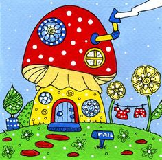 Mushroom house by dots 'n' doodles, via Flickr