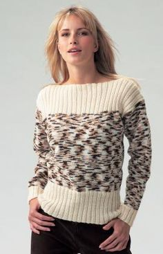 Boat Neck Ladies' Jumper - Free Knitted Pattern - (redheart)