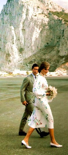 Charles and Diana dwarfed by the Rock of Gibraltar 1981