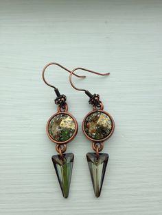 Bronze Beauty, Dangle Bronze Swarovski Crystal Earrings by FARFELLY