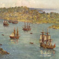 The First Fleet arrives in Australia. Historical Romance Authors, Historical Images, Les Inventions, Van Diemen's Land, First Fleet, Penal Colony, Colonial Art, Australia Day, First Contact